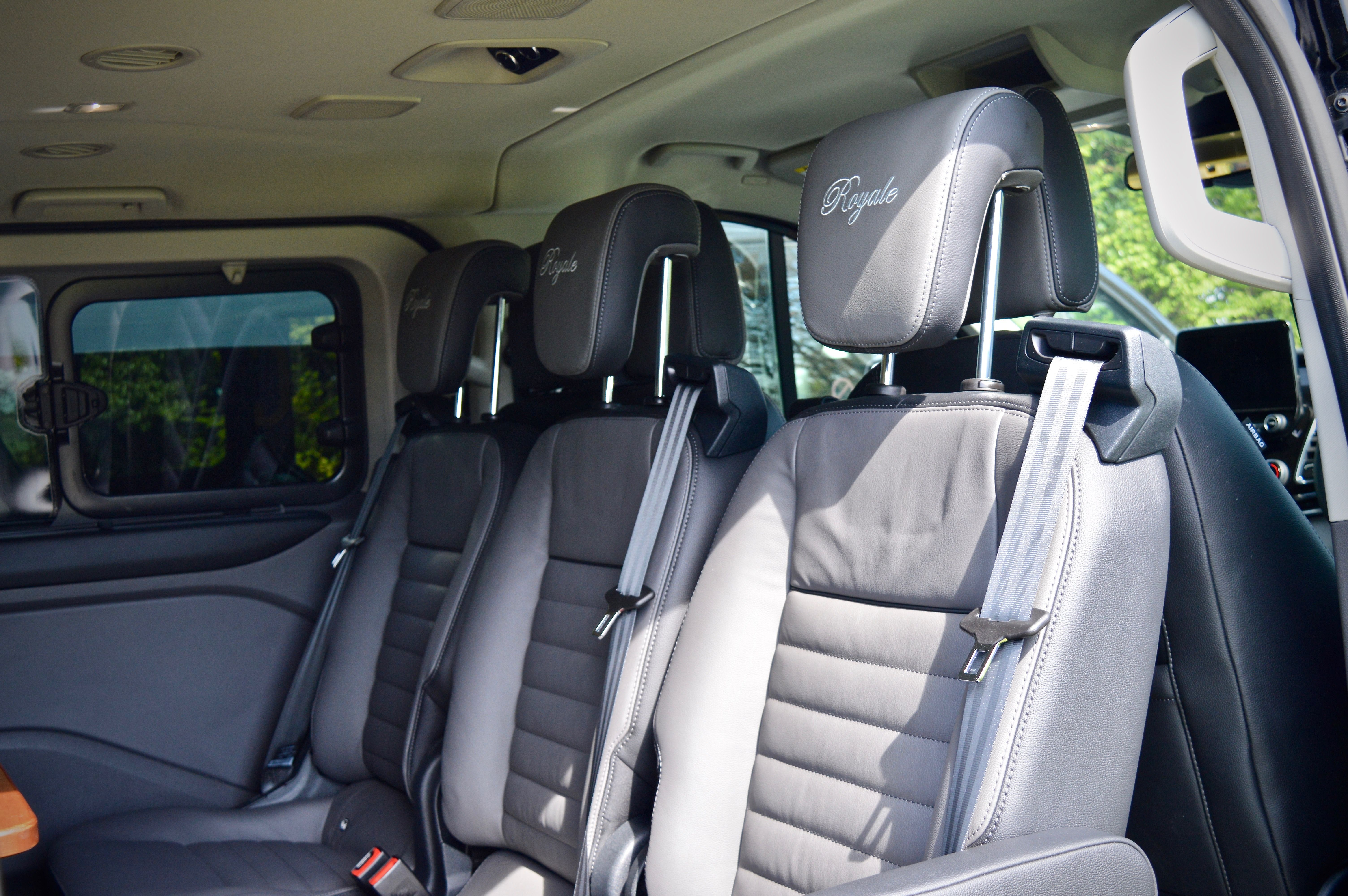 A detailed view of the leather seats within the taxi